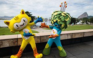 2016年里約奧運會吉祥物「維尼休斯」(左)和里約殘奧會吉祥物「湯姆」(右)。(YASUYOSHI CHIBA/AFP/Getty Images)