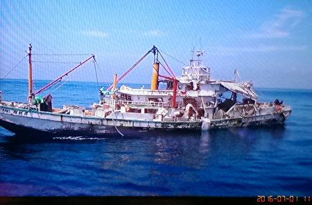 高雄籍翔利昇渔船1日在澎湖东吉东南八海里处传出海难。(台湾台南海巡队提供)