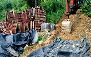為預防尼伯特颱風來襲可能造成土砂災害,水利局按日派員至現場針對水土保持狀況進行檢查,要求行為人施作全面性緊急防災計畫。(台中市政府提供)