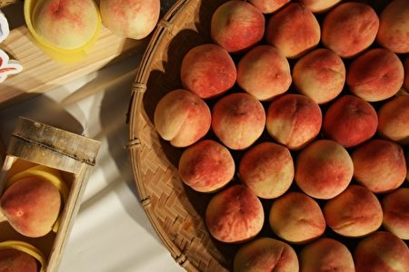 展示的水蜜桃。(新竹县政府提供)