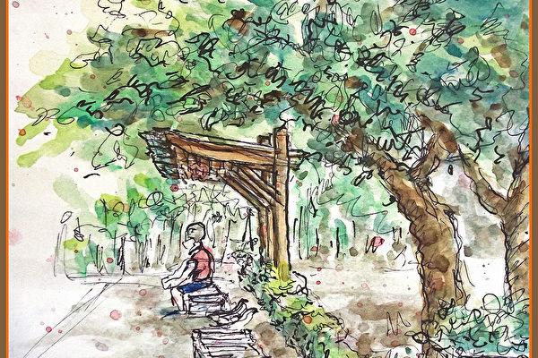 淡彩速寫 / 公園邊的公車站(圖片來源:作者 邱榮蓉 提供)