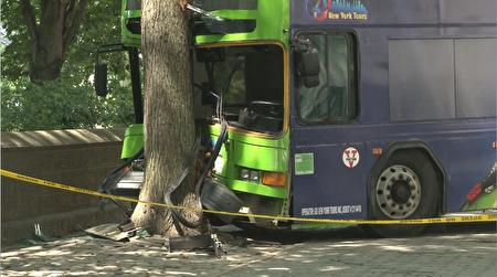 撞上大树的巴士。 (奥利弗/大纪元)
