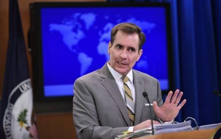 美國國務院發言人柯比(John Kirby)表示,希望各方能支持與遵守裁決結果,並呼籲所有爭議方「避免挑釁性言行」。(MANDEL NGAN/AFP/Getty Images)
