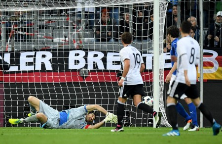 MUNICH, GERMANY - MARCH 29: Gianluigi Buffon of Italy recieves the first goal by Toni Kroos of Germany (not in the picture) during the International Friendly match between Germany and Italy at Allianz Arena on March 29, 2016 in Munich, Germany. (Photo by Matthias Hangst/Bongarts/Getty Images)