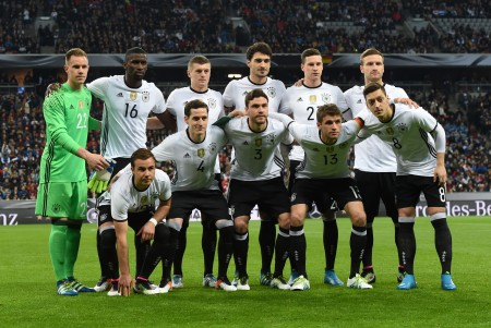 (1st row L-R) Germany's forward Mario Goetze, Germany's midfielder Sebastian Rudy, Germany's defender Jonas Hector, Germany's midfielder Thomas Mueller and Germany's midfielder Mesut Oezil ; (top L-R) Germany's goalkeeper Manuel Neuer, Germany's midfielder Karim Bellerabi, Germany's midfielder Toni Kroos and Germany's defender Mats Hummels Germany's forward Julian Draxler, Germany's defender Shkodran Mustafi pose for a team picture prior to the friendly football match between Germany and Italy in the stadium in Munich, southern Germany, on March 29, 2016. / AFP / CHRISTOF STACHE (Photo credit should read CHRISTOF STACHE/AFP/Getty Images)