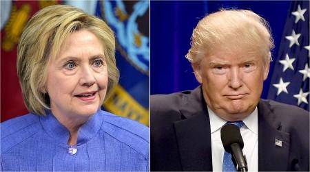 民主党大会结束后,川普(图右)每隔6分钟就发一则推文,炮轰希拉里(图左)的演说。(DSK/AFP/Getty Images)