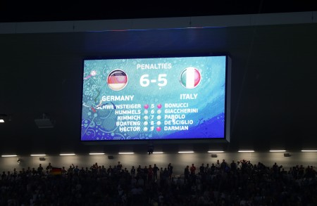 BORDEAUX, FRANCE - JULY 02: The final score is displayed after the UEFA EURO 2016 quarter final match between Germany and Italy at Stade Matmut Atlantique on July 2, 2016 in Bordeaux, France. (Photo by Alexander Hassenstein/Getty Images)