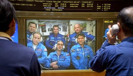 正駐守國際空間站的日本宇航員大西卓哉(Takuya Onishi)19日晚與日本宇宙航空研究開發機構(JAXA)東京事務所連線召開記者會,介紹太空生活。( Bill Ingalls/NASA via Getty Images)