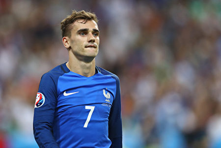 7月10日,法国球星格里兹曼(Antoine Griezmann) 在决赛中。(Lars Baron/Getty Images)
