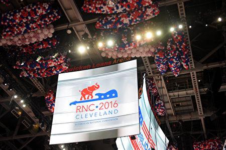 美国共和党全国代表大会7月18日在俄亥俄州克里夫兰市召开,首日主题是让美国更安全。(Jeff Swensen/Getty Images)