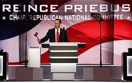 共和党全国委员会主席普利巴斯(Reince Priebus)宣布大会开幕。 (John Moore/Getty Images)