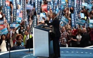 民主黨全代會中見到年輕亞裔黨代表的身影,親身體驗美國的民主。圖為27日奧巴馬總統在大會演講。(Drew Angerer/Getty Images)