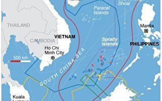 周边国家对南中国海的海权声索图。((维基百科公共领域)