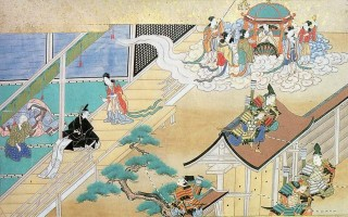日本最早用假名书写的故事书《竹取物语》,内容深受中国神佛思想和传奇故事的影响。(公有领域)