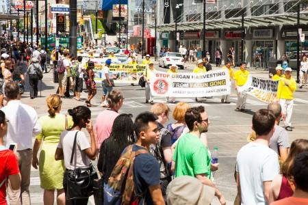 多倫多千人大遊行——反迫害方陣,譴責活摘器官。(艾文/大紀元)