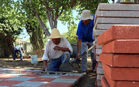 图:唐先生与工作团队帮助华人屋主整修后院。(蔚然/大纪元)