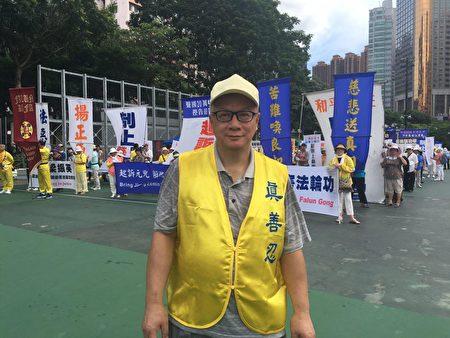 香港法輪佛學會發言人簡鴻章表示,梁振英勾結江澤民集團,攪亂香港,發動街頭暴力,打壓法輪功。梁振英發動的特務組織,包括青關會等等,都必須要繩之於法。(梁珍/大紀元)