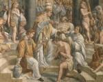 君士坦丁大帝结束了罗马帝国近三百年的对基督教的迫害。图为拉斐尔绘制的壁画《君士坦丁的洗礼》局部。画面是当时的教皇西尔维斯特一世为君士坦丁大帝做洗礼。(公有领域)
