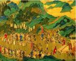 明代仇英繪《漢武帝上林出獵圖》(局部),是根據司馬相如的《上林賦》中描繪的場景創作出來的。(公有領域)