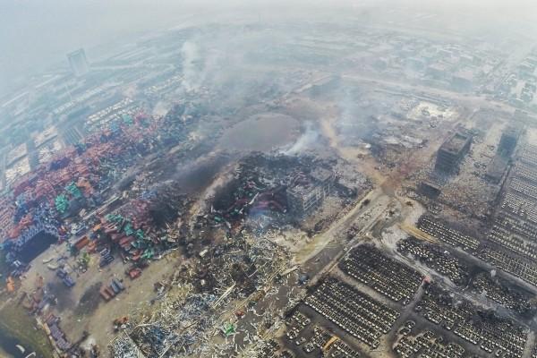 俯瞰天津爆炸现场。(大纪元资料室)