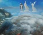 """每一个民族的起源伴随着神话;每一种文化的开端伴随着对神的信仰。图为""""真、善、忍""""美展画作《悲喜泪》局部。(张昆崙/大纪元)"""