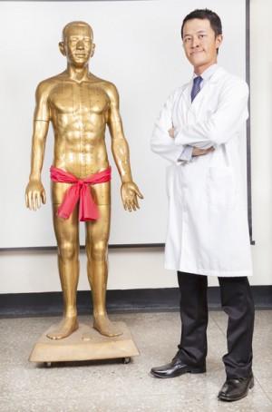 全中国的医学博士与人体穴位模型(fotolia)