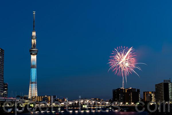 東京煙火秀在戒備森嚴中2萬發升空