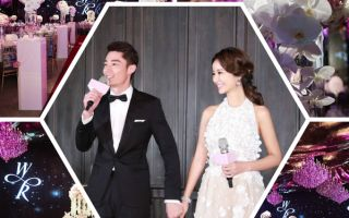 藝人林心如、霍建華今晚(2日)在台北君品酒店舉行歸寧宴,會場佈置浪漫溫馨。(林心如工作室/大紀元合成)