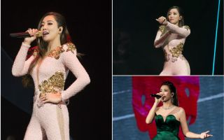 "A-Lin""Sonar声呐世界巡回演唱会""台北回声限定场回馈粉丝。(索尼音乐/大纪元合成)"