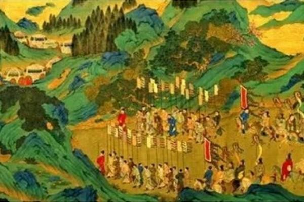 明代仇英绘《汉武帝上林出猎图》(局部),是根据司马相如的《上林赋》中描绘的场景创作出来的。(公有领域)