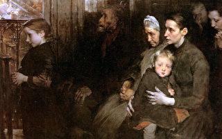 [法]亨利‧儒勒‧让‧若弗鲁瓦(Henri Jules Jean Geoffroy,1853—1924),《顺从者》(Les résignés),1901年作,布面油画,110×150 cm,巴黎奥赛美术馆藏。(艺术复兴中心提供)