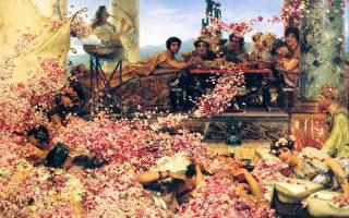 [荷/英]劳伦斯‧阿尔玛—塔德玛爵士(Sir Lawrence Alma-Tadema,1836—1912),《黑利阿迦八鲁斯的玫瑰》(The Roses of Heliogabalus),1888年作,布面油画,132.1×213.9 cm,私人收藏。(艺术复兴中心提供)