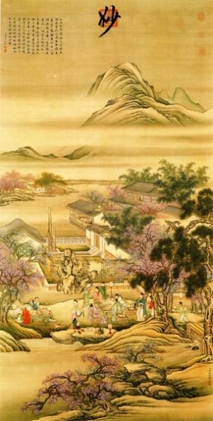 《春夜宴桃李园图》,取材于李白《春夜宴从弟桃花园序》(别名《春夜宴桃李园序》),清冷枚绘,台北国立故宫博物院藏。(公有领域)