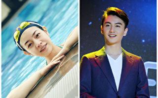 """戴泳帽的陈妍希(左)与陈晓被称""""最强夫妻脸""""。(微博图片/大纪元合成)"""
