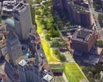 李宗保提出,將連接華埠和曼哈頓金融中心的柏路(圖中綠色部分)模仿高線公園,下邊通車。 (李宗保提供)