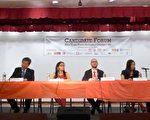 6名参选人在辩论会上,就社区关心的议题各抒己见,左二起:坎瑟、李宗保、李金枝、纽维尔、牛毓琳、珍妮花。 (蔡溶/大纪元)