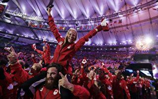 加拿大運動員在里約奧運閉幕式上盡情表達自己的歡欣和激動。(加通社)