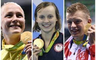 里约奥运游泳比赛场地玛莉亚林柯水上运动中心7日见证女子400公尺自由式、女子100公尺蝶式、男子100公尺蛙式3项破世界纪录。图左为瑞典选手斯约斯特洛姆(Sarah Sjostrom),图中为美国女将雷德基(Katie Ledecky),图右为英国泳将比提(Adam Peaty)。(大纪元合成图)