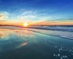 Beautiful orange sunset at the beach