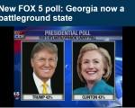 据福克斯(FOX 5)一项最新的民意调查显示,川普和希拉里在乔州打成平手 (网络截图)
