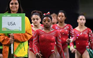 美国女子体操新星拜尔斯(队伍第一名)有望在里约奥运上大放光彩。 (Photo by Laurence Griffiths/Getty Images)