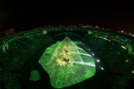 RIO DE JANEIRO, BRAZIL - AUGUST 05: A general view during the Geometrization segment of the Opening Ceremony of the Rio 2016 Olympic Games at Maracana Stadium on August 5, 2016 in Rio de Janeiro, Brazil. (Photo by Richard Heathcote/Getty Images)