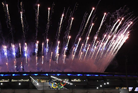 Fireworks explode over the Maracana stadium during the opening ceremony of the Rio 2016 Olympic Games in Rio de Janeiro on August 5, 2016. / AFP / Luis Acosta (Photo credit should read LUIS ACOSTA/AFP/Getty Images)