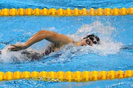 图为2016年8月12日,姬蒂‧雷德基在里约奥运参加女子800公尺自由决赛。 ( Ryan Pierse/Getty Images)