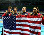 RIO DE JANEIRO, BRAZIL - AUGUST 13:  Gold medalists Nathan Adrian, Michael Phelps, Ryan Murphy and Cody Miller of the United States pose during the medal ceremony for the Men's 4 x 100m Medley Relay Final on Day 8 of the Rio 2016 Olympic Games at the Olympic Aquatics Stadium on August 13, 2016 in Rio de Janeiro, Brazil.  (Photo by Al Bello/Getty Images)