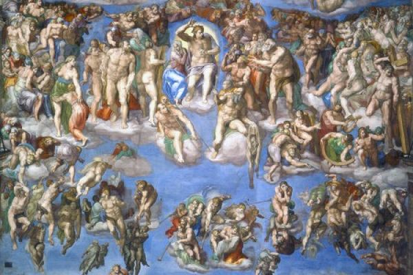 意大利画家米开朗基罗根据《圣经.启示录》中的故事,绘制的巨型祭坛画《最后的审判》。(公有领域)