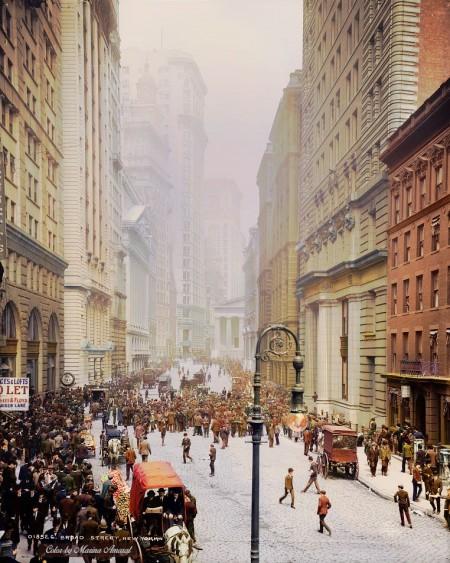 1905年的纽约布罗德街(Broad Street,又名宽街)。(Courtesy of Marina Amaral)