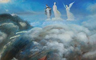 每一个民族的起源伴随着神话;每一种文化的开端伴随着对神的信仰。图为画作《悲喜泪》局部。(张昆崙/大纪元)
