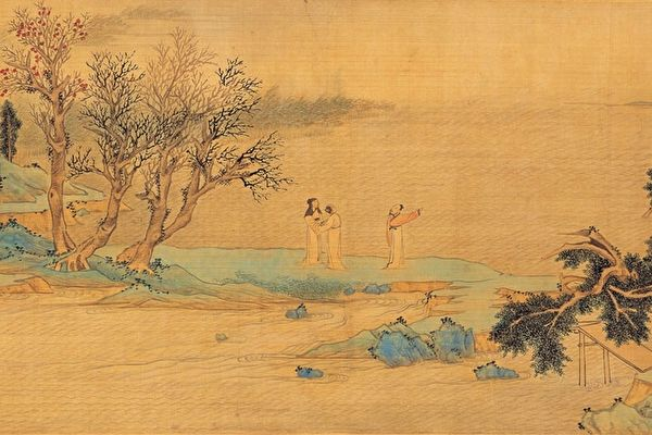 明文徵明《仿赵伯�X后赤壁图》卷(局部)描绘苏轼与友人游赤壁的情景,绢本,台北国立故宫博物院藏。(公有领域)