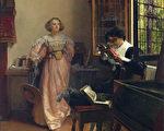 [英]劳拉‧特雷莎‧阿尔玛—塔德玛夫人(Lady Laura Teresa Alma-Tadema, 1852—1909),《执著的阅读者》(The Persistent Reader),年代不详,板上油画,44.45×58.42cm,私人收藏。(Courtesy of Sotheby's)